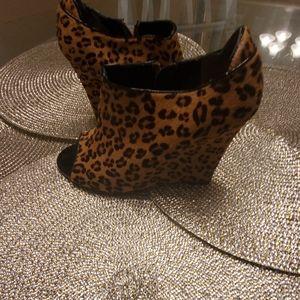 Leopard Pony Hair Open-toe Booties